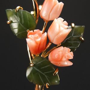 美国回流鎏金镶嵌天然珊瑚和田碧玉 胸花