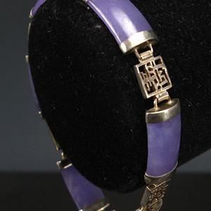 美国回流 925银天然紫色翡翠 手链