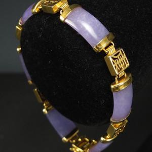 美国回流 鎏金天然紫色翡翠 手链