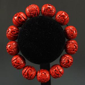 美国回流 剔红《漆雕海棠牡丹》圆珠项链