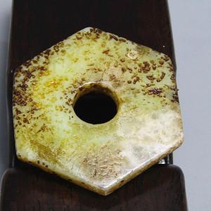 宋辽时期 和田玉六角玉璧 包浆熟厚