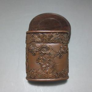 清代紫红铜龙凤花鸟纹扁形盖盒