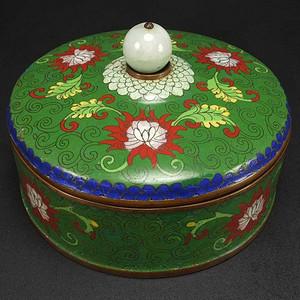 清代 铜胎掐丝珐琅镶嵌天然翡翠 盖罐