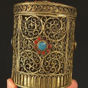 清代鎏金花丝镶嵌叶茶盖