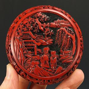 清代剔红漆器粉盒