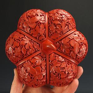 美国回流 剔红漆器 茶叶盒