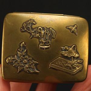 清代 堑花花纹黄铜茶叶盒