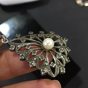 8164欧洲回流老银嵌铁矿石珍珠坠子