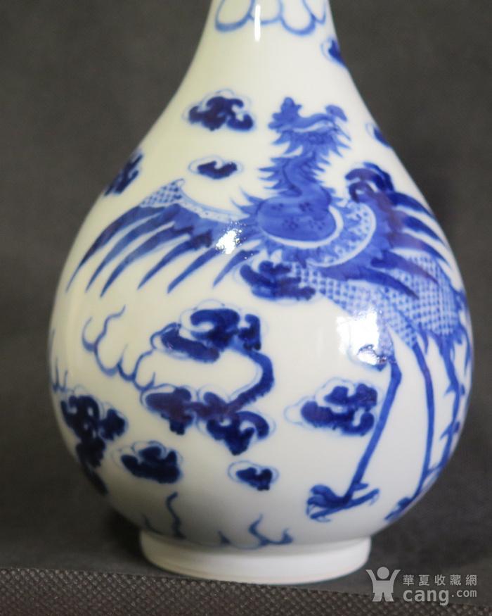 清代25.5cm游龙戏凤青花天球瓶图4