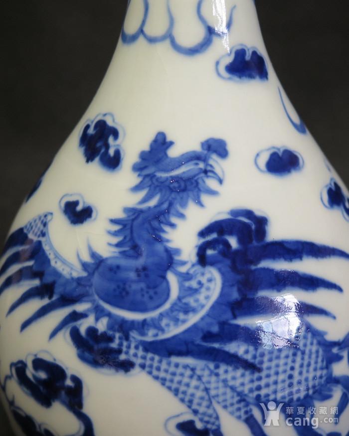 清代25.5cm游龙戏凤青花天球瓶图9