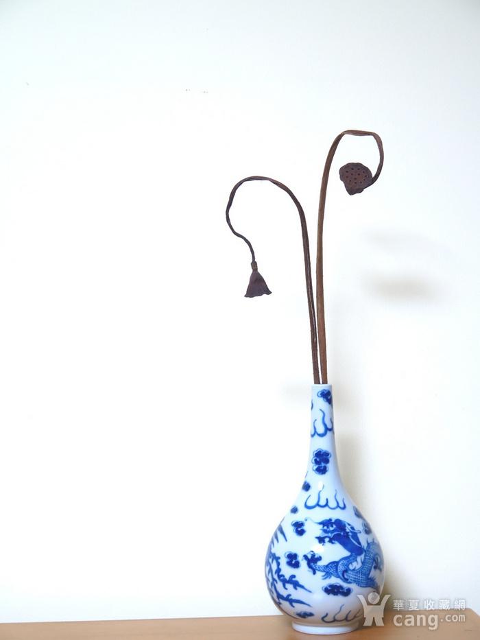 清代25.5cm游龙戏凤青花天球瓶图12