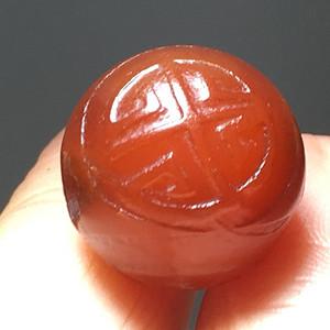 清代 玛瑙 团寿纹 圆珠子一枚 手工雕刻
