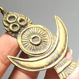 藏传 晚清 日月星 铜制托甲 手工雕刻 包浆自然