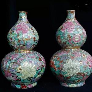 比利时回流创汇时期珐琅彩百花不落地织金大葫芦瓶一对
