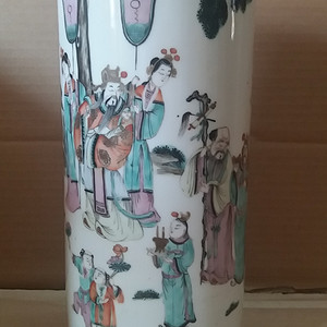 神仙纹粉彩帽筒