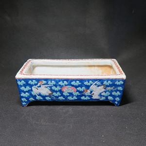 精品   清代同道富贵长寿蓝粉彩水仙盘