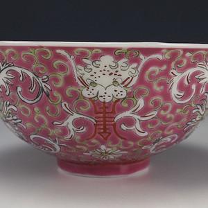 民国 大清乾隆年制 胭脂红龙纹碗