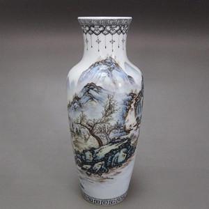 名家邓必浩作品山水人物纹赏瓶