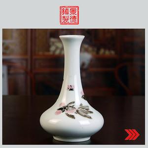 景德镇 文革瓷 古瓷器 全手工彩绘高白泥,高白釉,釉中彩花瓶