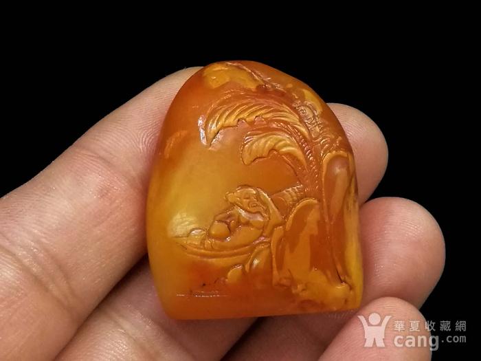 寿山石田黄石薄意浮雕摆件21 石质温润 萝卜纹隐隐可见图7
