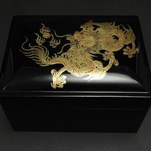 美国回流 描金漆器龙纹 四盒