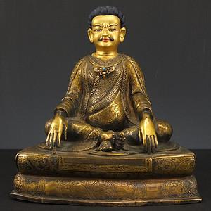 美国回流藏传鎏金铜座像