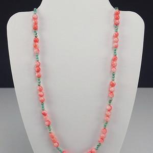 美国回流 天然珊瑚镶嵌松石园珠项链