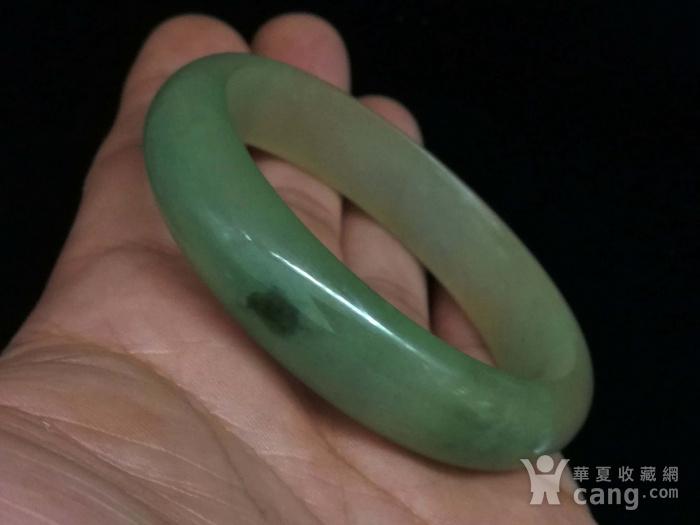 缅甸油青翡翠美人痣手镯图1