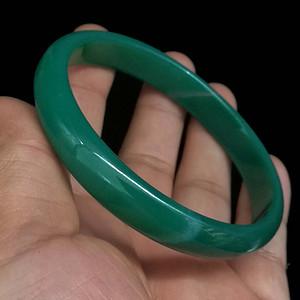 天然巴西绿玛瑙花纹手镯