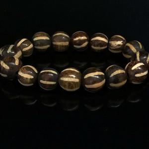 天珠旁系 邦提克木化石六线瓜珠手链