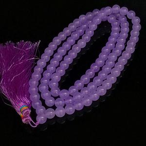 缅甸冰种紫罗兰翡翠108颗念佛珠项链