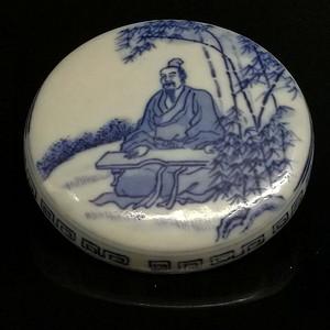 民国青花竹林雅士纹印泥盒