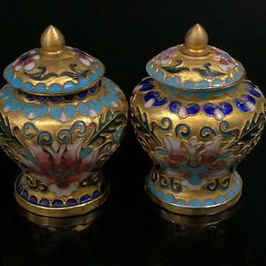 尼泊尔西藏铜胎掐丝景泰蓝珐琅将军罐一对