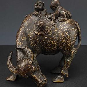 美国回流 洒金牧童放牛铜雕塑像大摆件