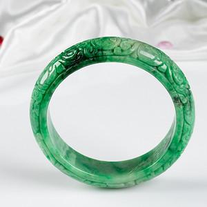 冰润满绿宽边手镯手镯