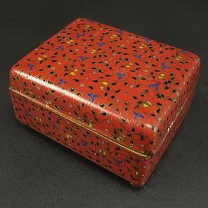 晚清铜胎掐丝珐琅 叶茶盒