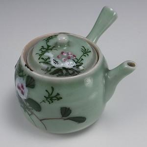 清代粉彩豆青釉 茶壶罐