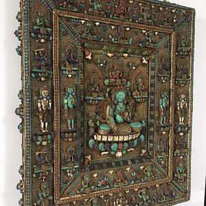 清代大型铜鎏银度母佛像嵌宝石唐卡