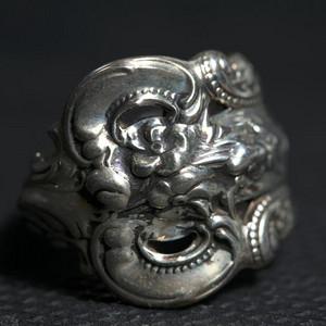 法国十九世纪洛可可风格,纯银戒指