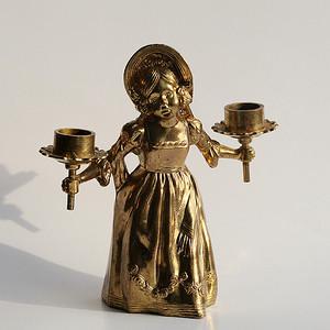 小天使铜像烛台