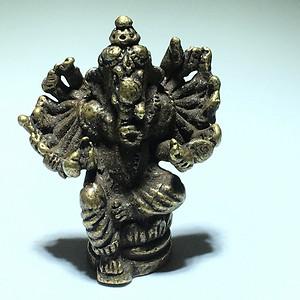 清代 藏传 铜制象鼻财神 佛像 嘎乌盒中供奉