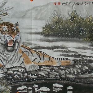 名家杨振铭国画虎六尺横幅精裱镜芯