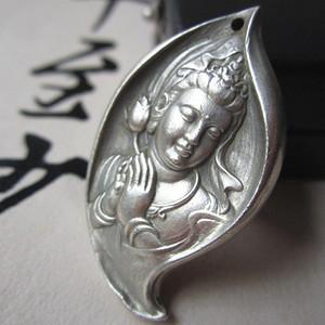 老银打造 手工雕刻 菩萨 心经牌 佩戴可保平安 40x24x8mm