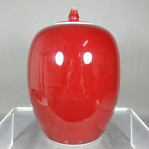 民国红釉冬瓜罐