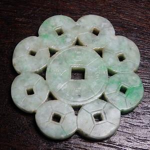 翡翠A货铜钱雕刻玉佩