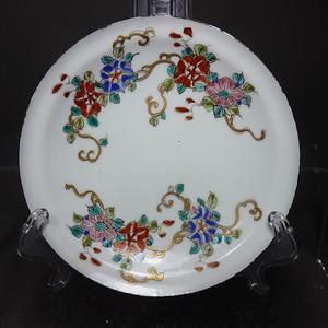 清代粉彩花卉绘画折腰盘