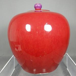 乾隆红釉西瓜罐