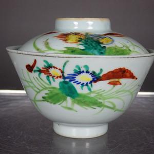 民国粉彩花卉绘画茶盖碗