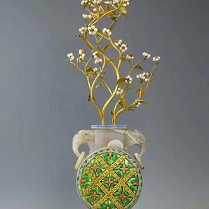 回流铜鎏金掐丝嵌宝珍珠梅花赏瓶