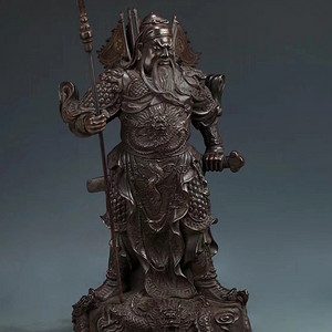 明精铸铜胎醇美包浆九龙关公武财神立像